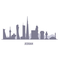 jeddah city skyline - jiddah landmarks and vector image