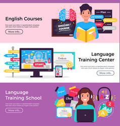 Language training banners vector
