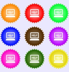 Laptop tech service icon sign Big set of colorful vector