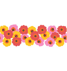 Large red pink and yellow flowers seamless vector