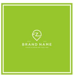 Letter fz pin logo design vector