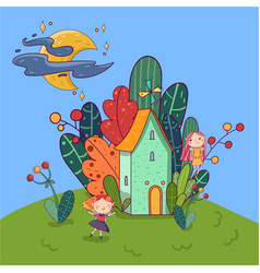little house surrounded by plants fairy girls vector image