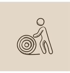 Man with wire spool sketch icon vector image