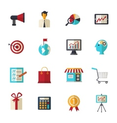 Marketing flat icons set vector