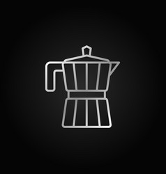 Moka pot line silver icon on dark vector