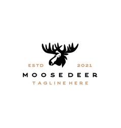 moose deer head silhouette logo design vector image