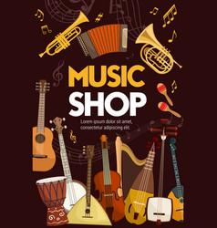 Music shop folk sound band musical instruments vector