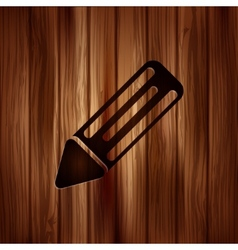Pencil web icon Wooden background vector image