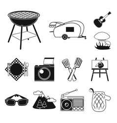 picnic and equipment black icons in set collection vector image
