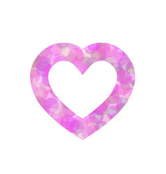 Pink heart outline of dot vector