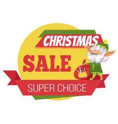 poster super sale and elf cartoon character vector image