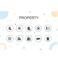 Property trendy infographic template thin line vector