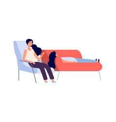 psychotherapy session woman on couch talking with vector image