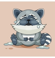 Raccoon cub is crying vector