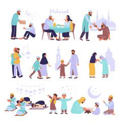 ramadan flat icon set vector image