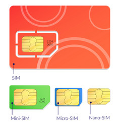 realistic sim cards icon set vector image