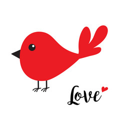 red bird happy valentines day cute cartoon vector image