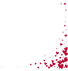 Red heart love confettis valentines day corner c vector