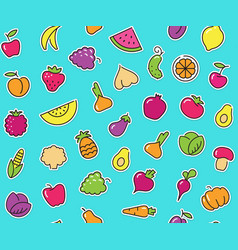 seamless background with stickers of vegetables vector image
