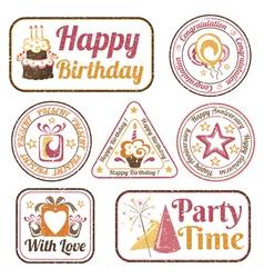 Set celebration stamps vector