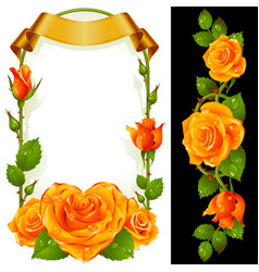 set floral decoration yellow roses green vector image