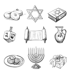 Set of element for hanukkah vector