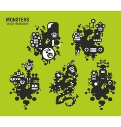 Set of monster vector image