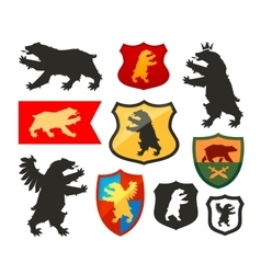 shield with bear logo coat arms vector image
