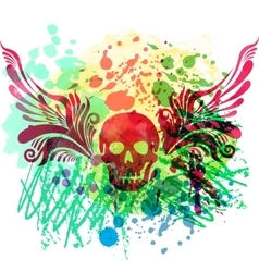 Skull with floral wings vector