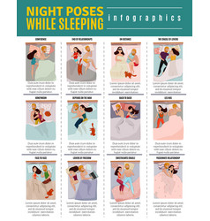 Sleeping poses infographic set vector