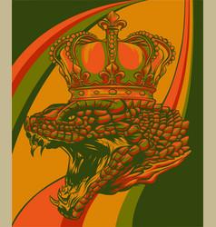 Snake crown colored background design vector