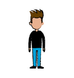 Standing man character people casual clothes vector