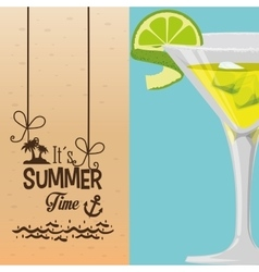 Summer time cocktail banner vector