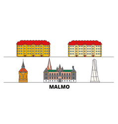 Sweden malmo flat landmarks vector