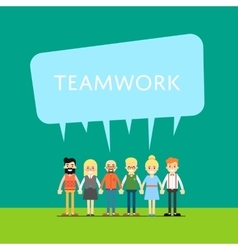 Teamwork banner with group of smiling people vector