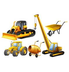 Tractor and other vehicles used in construction vector