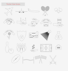 travel and sport set style line icons on vector image