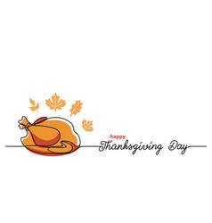 turkey dinner thanksgiving day line art background vector image
