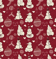 Vintage pattern of snowmen snowflakes and vector