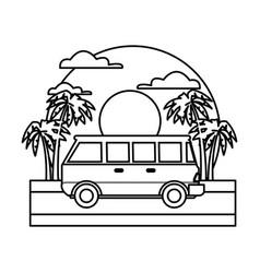 Vintage van vehicle on sunset landscape vector
