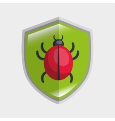 virus system icon warning data shield vector image
