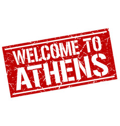 Welcome to athens stamp vector