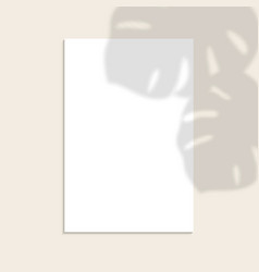white vertical paper sheet with shadow overlay vector image