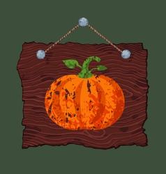 Wooden Sign with Pumpkin vector