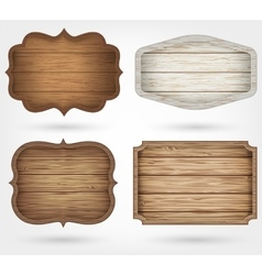 Wooden signs collection 4 realistic wooden signs vector