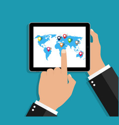 world map in tablet hand hold pc with earth map vector image