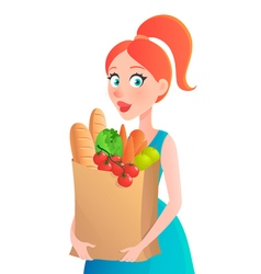 Young woman holding paper bag of groceries Girl vector image