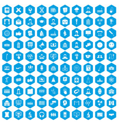 100 conference icons set blue vector
