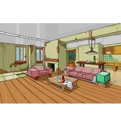 Cartoon old shabby apartment interior vector