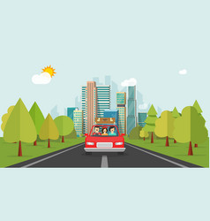 family travel by car flat cartoon style happy vector image vector image